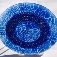 Blue Plate Special No. 2    Fused Glass with Handmade Murrini