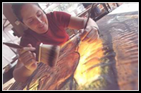 Lisa Maywood - creating custom stained glass art in her San Diego Studio