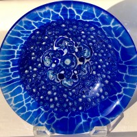 Blue Plate Special No. 3   Fused Glass with Handmade Murrini